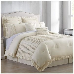 8 Pcs Pleated Comforter Set Beige More Sizes Avail